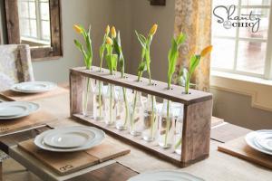 Asztali virágtartók fadeszkából